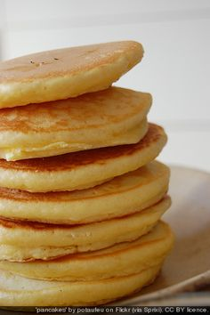 Light and Fluffy Pancakes with Cottage Cheese Recipe ~ Says: No more of that over-stuffed pancake feel afterwards! So delicious!