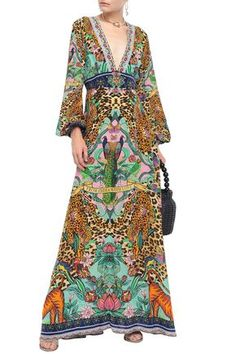 Shop on-sale The Jungle Book crystal-embellished printed silk crepe de chine maxi dress. Browse other discount designer Maxi Dress & more luxury fashion pieces at THE OUTNET Camilla Clothing, Valentino Clothing, Denim Shop, Popular Dresses, Silk Crepe, Jacket Dress, Boho Dress, Designer Dresses, Dress Outfits
