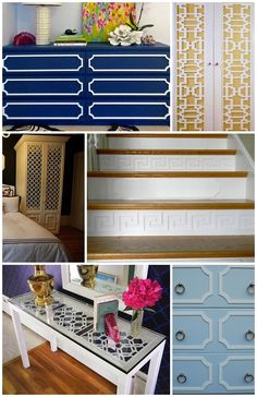 Samples of furniture updated with easily applied fretwork panels  www.SeasonsBlog.com