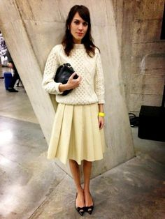 Natural (or nude) #knitwear and pleated knee-length #skirt on #Alexa Chung.  She makes everything look lovely - 'scuse the overt use of hashtags.