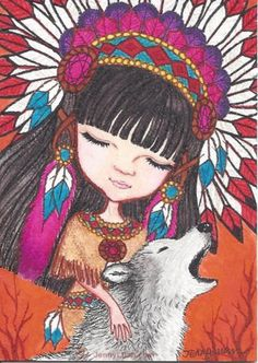 """ACEO TW Nov Native princess and Woff drawing- """"Dancing With Wolf"""" by Jenny Luan"""