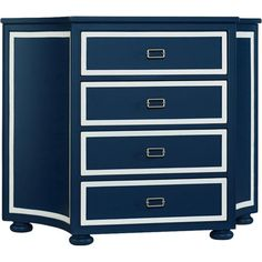 Showcasing nautical hues and bun feet, this lovely chest is perfect for stowing entertainment accessories in the den or spare sheets in the guest room.