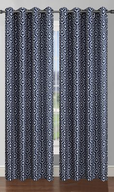 Camille Printed Faux Silk Grommet Curtain Panel Set Of 2