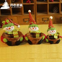 Christmas decorations Christmas desktop display decorated bar and restaurant decoration set of three woven baskets of candy box