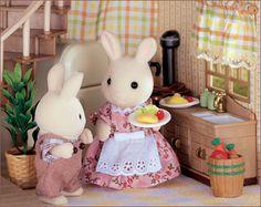 Sylvanian Families rabbit kitchen scene