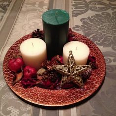 Holiday table centerpiece on 12 inch metallic by DesignsbyDazey, $30.00