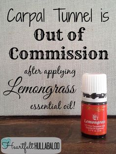 Carpal Tunnel is out of commission after applying Young Living Lemongrass essential oil. Yl Oils, Lemongrass Essential Oil, Doterra Oils, Doterra Essential Oils, Natural Essential Oils, Essential Oil Blends, Lemongrass Oil, Young Living Oils, Young Living Essential Oils