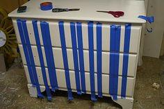Primitive & Proper: Gray and White Striped Dresser