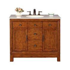 Silkroad Exclusive Frances Cherry Undermount Single Sink Bathroom Vanity With Natural Marble Top 42 In