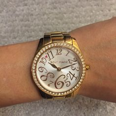 """BETSEY JOHNSON Rose Gold Bracelet Watch Rose gold bracelet style watch, spunky numbers on the face. Three links removed, included in sale! Face is 1.5"""" wide. Accessories Watches"""