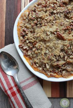 Sweet Potato Casserole with pecan and brown sugar topping.