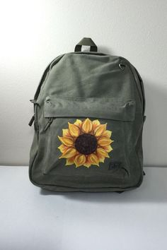 backpacks Canvas Backpack Hand Painted with a Sunflower by GulfLifebyNichole Diy Backpack, Small Backpack, Leather Backpack, Cute Backpacks For School, Cute Mini Backpacks, Painting Backpack, Mochila Jansport, Backpack Decoration, Mini Mochila
