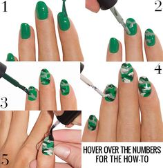 It's time for Camo nails. Learn how to paint this Camouflage Nail Art Design from Paasse Paasse Paasse Paasse Fortney Mirror Camo Nail Art, Camouflage Nails, Camo Nails, Camo Nail Designs, Nail Art Designs, Colorful Nail Designs, Spring Nail Art, Spring Nails, Nail Photos