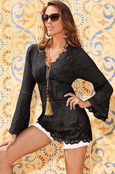 Lace embroidered tunic in black cotton at #BostonProper  $89  (Wish the length was included in the description.)