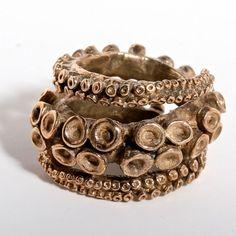 Double Octopus Ring made of Brass Tentacle Rings door zulasurfing