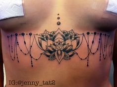 Lotus Mandala tattoo design for under the chest or lower back. mehndi tattoo and laces tattoo design. Drawn by Jenny Forth at Circus Tattoo in Miami Beach, FL.  Instagram: jenny_tat2
