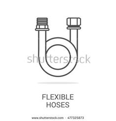 Vector line icon flexible hoses. Household appliances for the kitchen, gas supply, water supply modern home. Web graphics, banners, business templates. Isolated on a white background.