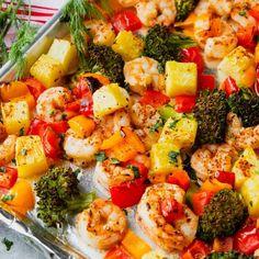 room Mediterranean Shrimp Recipe, Lamb Loin Chops, Recipe Sheets, Easy Meal Prep, Vegetable Salad, Shrimp Recipes, Shrimp Dishes, Kitchen Recipes, Sheet Pan
