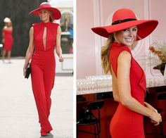 ab5501184746 32-year-old Jennifer Hawkins stunned in a cherry red jumpsuit by Misha  Collection