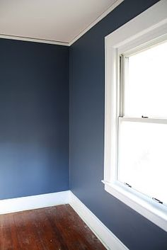 Benjamin Moore Kensington Blue - this is the color I'd like James' chalkboard wall to be for his space room I like this wall color Blue Master Bedroom, Bedroom Boys, Boys Blue Bedrooms, Colors For Boys Bedroom, Boys Room Paint Ideas, Dark Blue Bedroom Walls, Dark Blue Rooms, Blue Bedroom Paint, Boy Room Paint