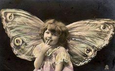 Vintage Butterfly Girl postcard