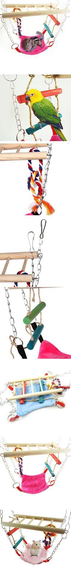 Bwogue Hamster Toys,Small Animals Parrot Hammock Climber Ladder Color Random