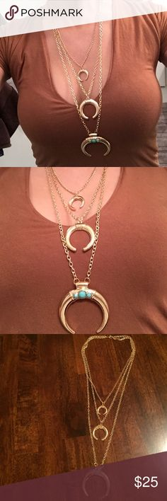 🆕• Gold & Turquoise Multi-Layer Horn Necklace • Super hot trend for 2017! Winter, spring or summer this necklace is a must have 🔥  Metal type: Alloy  Details: Brand new with tags & packaging, 3 layers, clasp in back, turquoise gems on large horn                                                                          *See separate listing for Silver & Turquoise Horn Necklace Jewelry Necklaces