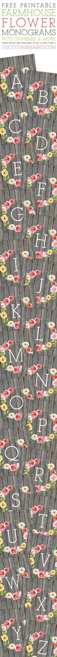 Free Printable Farmhouse Flower Monograms and More!