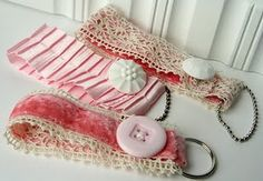 cute key fobs...love the velvet and would darling with a pretty vintage brooch too:)