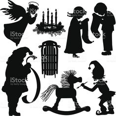 Christmas Holiday Silhouettes royalty-free stock vector art