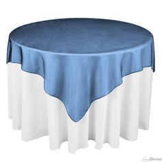 Buy 72 inch square navy blue organza table overlay to match your wedding tablecloths at LinenTablecloth! Table overlays add a dramatic impact to your overall table linen ensemble.