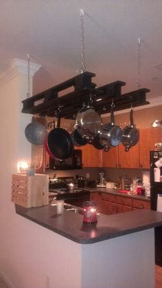 DIY Pot Rack. This was so simple to do I don't know why it took me years to make one. I love it.