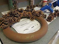 Fall/winter pine cone wreath