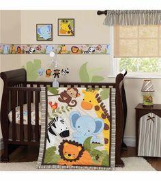 Jungle Buddies Crib Bedding Elephant Monkey Quilt Sheet Ruffle 3pc Nursery Baby  #Unbranded