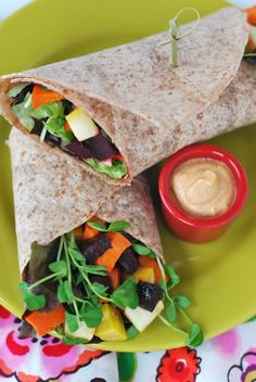 Sprouted Grain Wrap w/ Roasted Roots, Greens & Chipotle Dip | The Alkaline Sisters