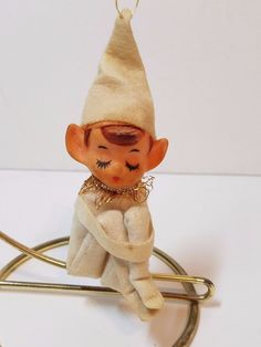 Vintage Knee Hugger Pixie Elf White Christmas Decoration Felt Japan Ornament Toy