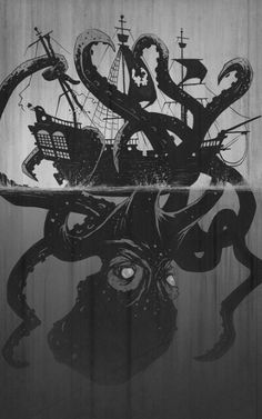 Giant octopus attacking a ship