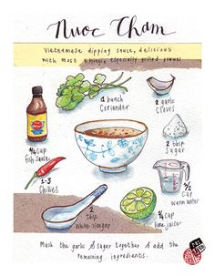 Illustrated recipe with watercolour, guache, ink and collage. Delicious!