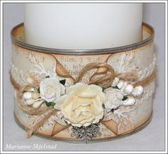 Candice paper world .: From canned food to candle holder - Pion Design Altered Tins, Altered Bottles, Shabby Chic Crafts, Vintage Crafts, Tin Can Crafts, Crafts To Make, Bottles And Jars, Mason Jars, Tin Can Art