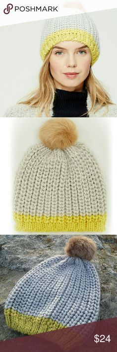 Pompom Hat Colorblock yellow/grey faux mink pompom hat. Chunky knit. Warm and cozy soft acrylic.  One Size   NO Trade / NO Paypal LOFT Accessories Hats