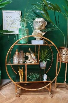 Antique Gold/Bronze Metal Trolley with Mirror Shelves – Hilary and Flo Gold Rooms, Gold Bedroom, Bedroom Green, Living Room Mirrors, Living Room Decor, Bedroom Decor, Living Room Green, Green Rooms, Gold Interior