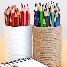 Pretty pencil holders - wrap recycled cans with jute/string and a little hot glue