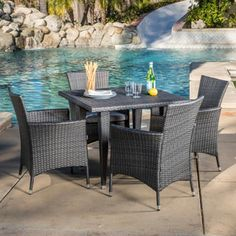 Outdoor Malta 5-piece Wicker Dining Set with Cushions by Christopher Knight Home | Overstock.com Shopping - The Best Deals on Dining Sets
