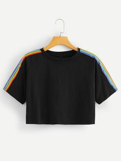 Sporty Striped Regular Fit Round Neck Short Sleeve Raglan Sleeve Black Crop Length Rainbow Stripe Panel Crop Tshirt - Cropped - Ideas of Cropped - croptops Teen Fashion Outfits, Fashion Mode, Mode Outfits, Outfits For Teens, Trendy Outfits, Girl Outfits, Rainbow Outfit, Rainbow Clothes, Belly Shirts