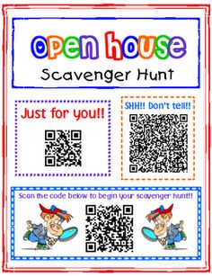 Transforming Teaching and Learning with iPads: iPad Activity: Open House Scavenger Hunt, an idea of how to use a QR code. Someday if I get an iPad :) Back To School Night, 1st Day Of School, Beginning Of The School Year, Stem School, Middle School, Back To School Activities, School Ideas, Web 2.0, Teaching Technology