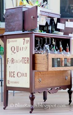 old dresser converted into a bar. cool idea