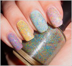 Pinkerbell by Nailventurous (layered over purple, yellow, blue, pink)