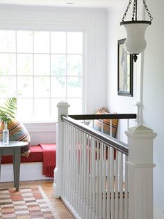 """Landing Zone: transform the often-unused space at the top of the stairs into a destination""- LOVE"