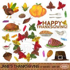 Watercolor Thanksgiving Clipart by DigitalArtsi on @creativemarket https://crmrkt.com/Jpkwl