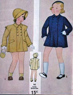 Simplicity 1272; ca. 1930s    ORIGINAL PATTERN, NOT A COPY OR REPRODUCTION    PRECIOUS Girls Coat    Size 8 - breast 26 / waist 25 / Back Length 29